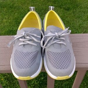 Paul Sperry Gray and Yellow Ripple Boat Shoes